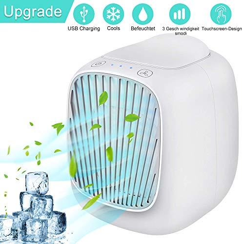 Mini Luftkühler,TUOWEI Air Cooler Mobile Klimaanlage Klein 4 In 1 KlimageräTe Ventilator, Luftbefeuchter, Luftreiniger und Aroma Diffuser mit USB, 3 Geschwindigkeiten FüR Home Office Draussen(Weiß)