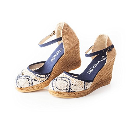 VISCATA Satuna Ankle-Strap, Closed Toe, Classic Espadrilles with 3-inch Heel Made in Spain silver