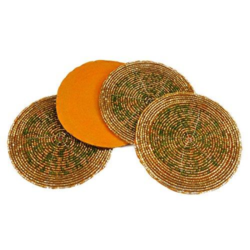 Set von 4–Grün und Golden indischen handgefertigt Perlen 10,2cm Kaffee, Tee Untersetzer Dekorationen Weihnachten Ornaments, perfekt für Abendessen, Partys, (Party Indische Dekorationen)