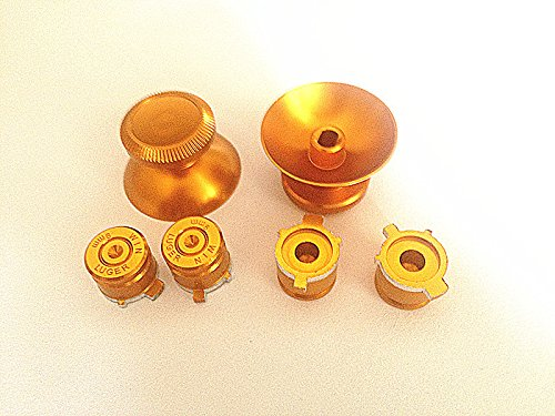 XMY Gold Metal Thumbstick metallo Thumbstick+Bullet ABXY Buttons for PS4 Controller Dualshock 4 Mod Kit - Abxy Pulsanti