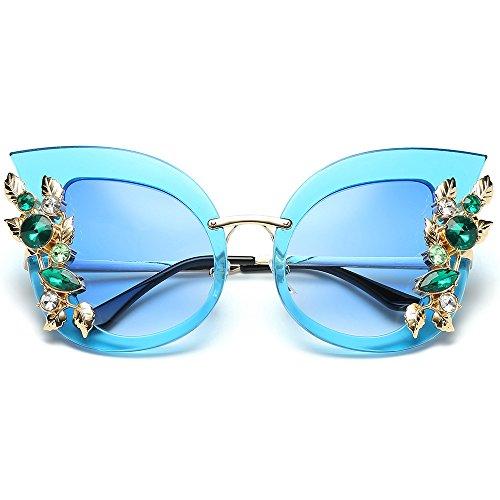 longzjhd Damen Mode Künstlich Diamant Katzenohr Metall Rahmen Marke Klassisch Sonnenbrille Frauen...