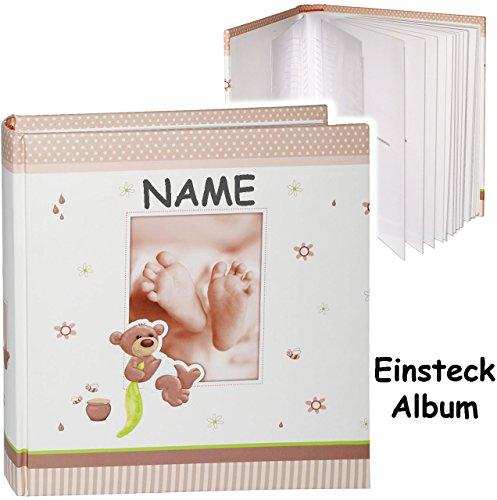 grosses-einsteckalbum-memoalbum-fotoalbum-susser-teddy-bar-babyfusse-incl-name-bis-zu-200-bilder-fot