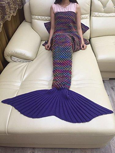 S-werthy sirena coperta coperta colore sirena coda griglia divano coperta regalo di compleanno, blu navy, 180 * 90 cm (71 * 35,4 pollici)