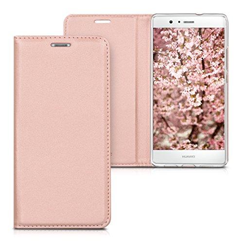 Kwmobile custodia per huawei p9 lite - cover a libro in simil pelle per cellulare - flip case protettiva oro rosa