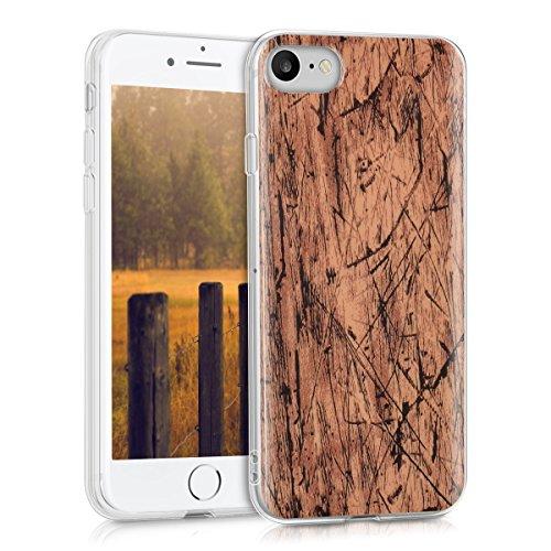 kwmobile Hülle für Apple iPhone 7 / 8 - TPU Silikon Backcover Case Handy Schutzhülle - Cover klar Vintage Holz Design Hellbraun (Klare Schutzhülle Book Cover)