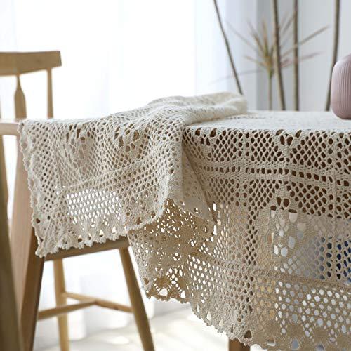Simmia home tovaglia rustica all'uncinetto rettangolare in cotone beige con sovrapposizioni di tavoli in pizzo, 140x250cm