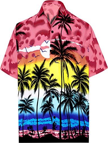 La leela | funky camicia hawaiana da uomo | xs - 7xl | maniche corte | tasca frontale | stampa hawaiana | estivo estate spiaggia palme rosso_w134 5xl - torace (in cms) : 167-172