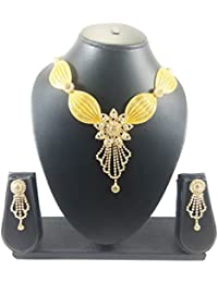 Luxaim Latest Morden Floral Design Pendant Gold-Plated Traditional Necklace Set With Earrings, Designer Necklace...