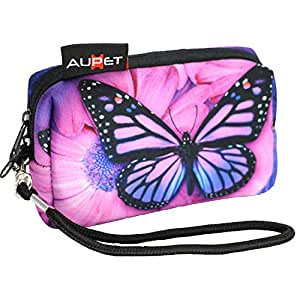AUPET Purple Butterfly Design Digital Camera Soft Case Pouch with Strap