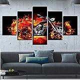 mmwin Inicio Moderno Arte de la Pared Impreso Lienzo Fotos Decoración 5 Piezas Fire Burn Motocicleta Resumen Cartel Modular Obras de Arte