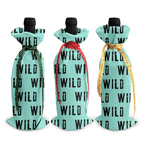 Wine Bags, WILD Coordinate to Little Man Adventure Wild Teal Champagne Wine Bottle Bags Covers for Wedding Party Holiday 3 Pieces Set Bottle Neoprene Wine Tote Bag