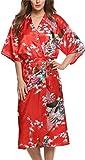 Damen Morgenmantel Kimono Robe Bademantel Nachtw?sche kurz aus Satin mit Peacock und Bl¨¹ten entwerfen Robe f¨¹r Hochzeit & Party & Schlafzimmer Lange Stil Rot XL