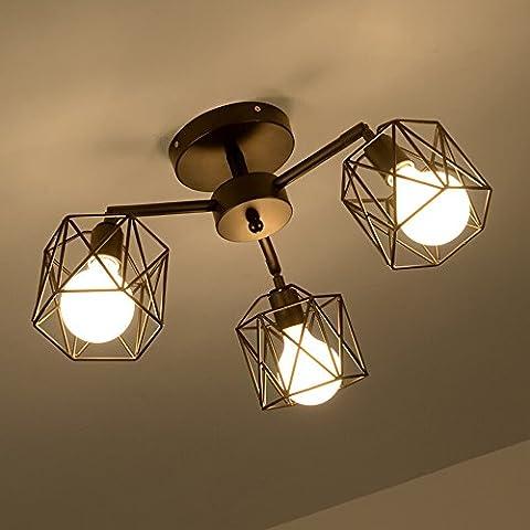 Neixy - Wrought Iron 3 Lights Industrial Cage Pipe Pendant Light Retro Rustic Iron Black Vintage Hanging Pendant Lamp Edison Ceiling Chandelier Semi-Flush