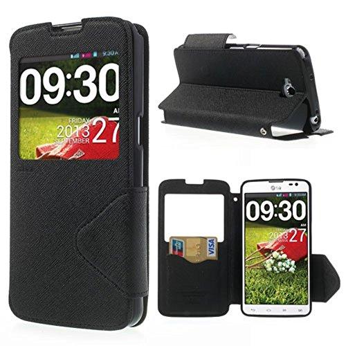 Roar Korea Fancy Diary View Window Leather Card Holder Tasche Hüllen Schutzhülle for LG G Pro Lite D684 Dual D686 - Black