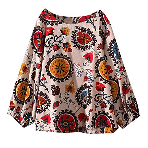 VEMOW Heißer Elegante Damen Casual Plus Größe Baumwolle Tops T Shirt Vintage Boho Floral Lose Bluse(Beige, EU-52/CN-5XL)