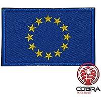 Cobra Tactical Solutions Parche Bordado Parche Militar con Cinta adherente para la Bandera de Airsoft/Paintball Unión Europea para Ropa de Mochila táctica.