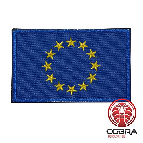 Cobra Tactical Solutions Military Patch Bestickt Patch mit Klett für Airsoft/Paintball Flagge Europäische Union für Taktische Rucksack Kleidung. -
