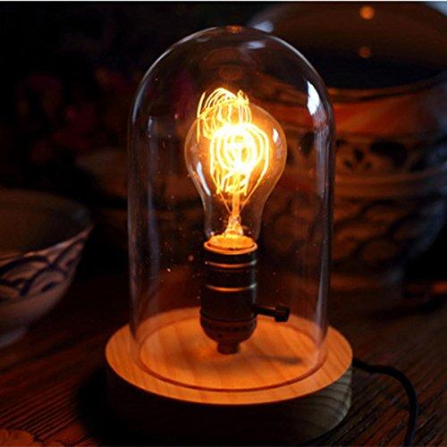 SHDT Lampe de table à base de bois rétro vieilli et dôme en verre clair