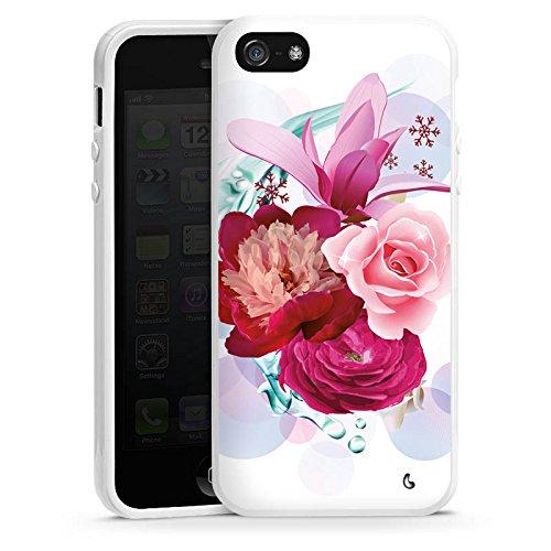 Apple iPhone 5s Housse Étui Protection Coque Fleurs Fleurs Fleurs Housse en silicone blanc