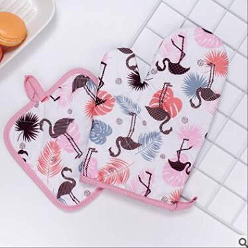 MYQG Ofen Handschuh Mode Brot Flamingo Muster Küche Pad Kochen Mikrowelle Backen BBQ Ofen Topf Mitts Küchenhandschuhe D