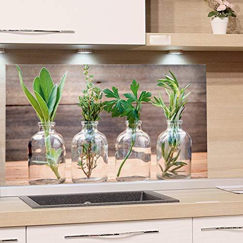 GRAZDesign Küchenrückwand Glas-Bild Spritzschutz Herd Edler Kunstdruck hinter Glas Bild-Motiv Gewürze Eyecatcher für Zuhause / 60x60cm