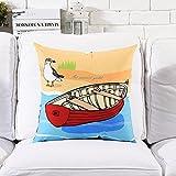 POPRY Mediterrane Landschaften Abbildung Kissen Heimtextilien Shop Sofa Dekoration Gesicht Plüsch Kissen, 53 X 53 cm-N