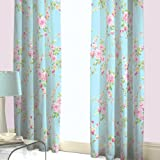 SHABBY BLUE PINK ROSE FLORAL CHIC PENCIL PLEAT FULLY LINED CURTAINS 66X72