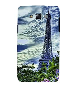 Fuson Designer Back Case Cover for Samsung Galaxy J7 J700F (2015) :: Samsung Galaxy J7 Duos (Old Model) :: Samsung Galaxy J7 J700M J700H (Eiffel tower Tip Eiffel Tower Cloudy Sky Beautiful Towers Green Garden)