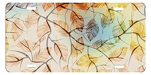 DQVWGK Herbst Muster mit Laub und Äste Custom Aluminium License Plate Frames für Auto License Plate Cover mit 4Löchern Auto-Tag 15,2x 30,5cm -