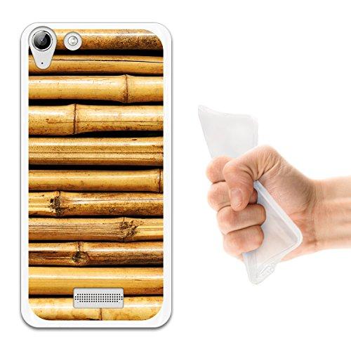 WoowCase Wiko Selfy 4G Hülle, Handyhülle Silikon für [ Wiko Selfy 4G ] Bambusholz Handytasche Handy Cover Case Schutzhülle Flexible TPU - Transparent