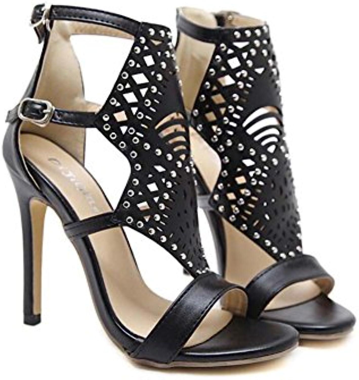 Cool Boots Women Pump 12cm Sandalias de tacón de aguja Open Toe Hollow Ankel Strap Dress Shoes Simple Hollow Rivets...