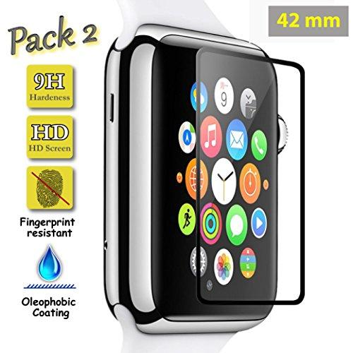 Funnytech® [Pack-2 Schutzfolie für Apple Watch 42mm Schwarz Vollbild [deckt Handyrahmen ab] l Displayschutz aus Panzerglas, Kanten 2.5D, 9H Härte, 0,3 mm Stärke -