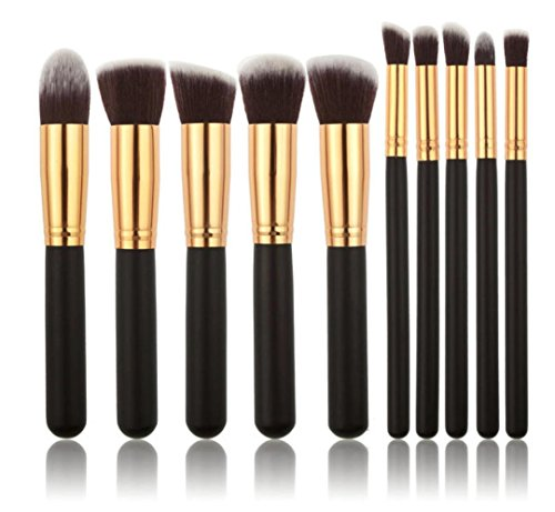 kingko® 10PCS / Set brosse cosmétiques Pinceaux teint poudre fard à paupières, pinceau de maquillage (noir)