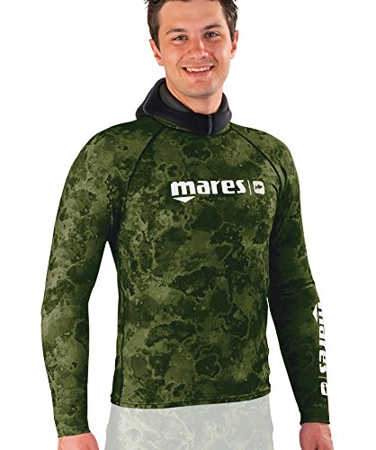 Mares Long Sleeve Rash Guard mit Brust Pad, Herren, grün camo (Rash Guard Mit Brust-pad)