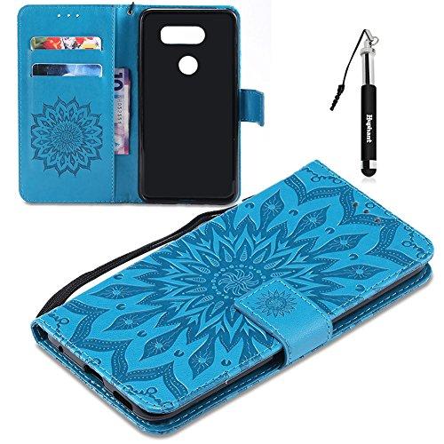 LG V30 Hülle, LG V30 Tasche Leder, Huphant Flip Case Leder [Imprinted Sunflower Serie]PU Leather Case Wallet Case Magnet Case Book Case Schutzhülle Klappbar für LG V30 (6 Zoll)+1X Schwarzer Stylus Touchscreen Pen - Blau