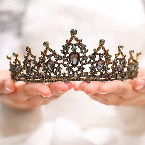 Jovono Braut Hochzeit Kronen Brautschmuck Perlen Kristall Krone Tiara für Frauen und Mädchen (Tiara Blau Gold)