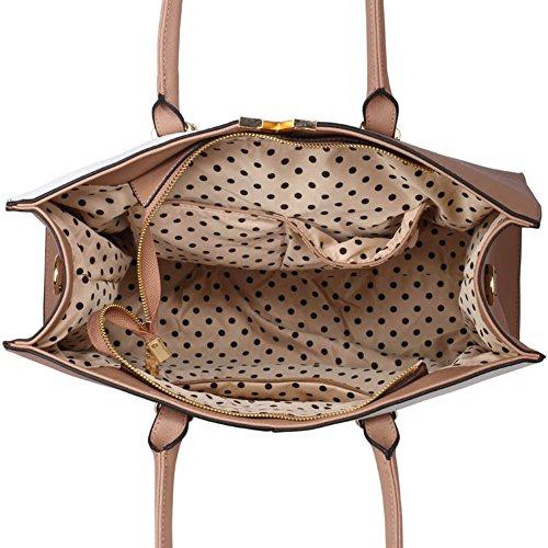 LeahWard® Patent Große Größe Damen Tragetaschen Hochschule A4 Mappe Handtasche nett Groß Schulter Handtaschen 319 Weiß/nackt V