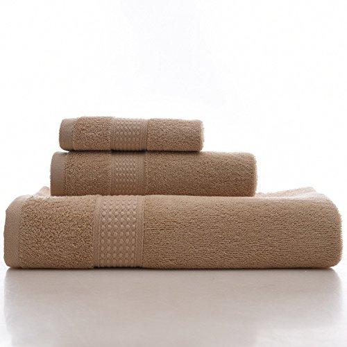 DANCICI Normales Handtuch Set aus Baumwolle - Fibre normales Haar Badewanne set Handtuch normal saugfähigen nach Handtuch Badezimmer drei Sätze, cyan Braun
