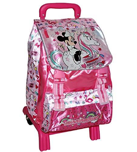 Zaino Trolley Scuola Elementare MINNIE Disney ESTENSIBILE Cartella Bambina con Ruote e trolley SGANCIABILE STACCABILE