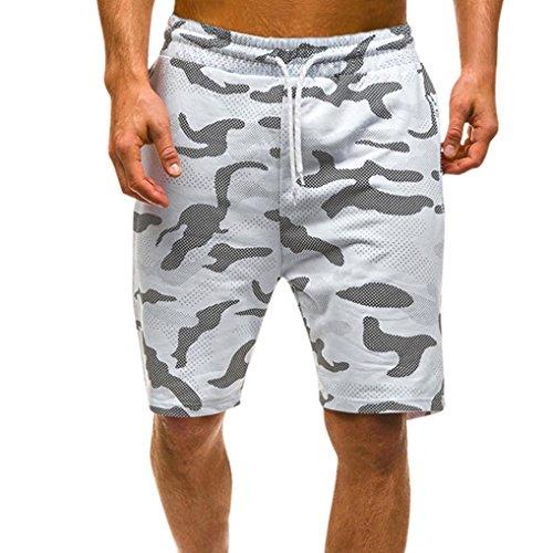 MOIKA Herren Everyday Shorts, Herren Sommer Casual Camouflage Shorts Hosen Freizeithosen(L,Weiß)