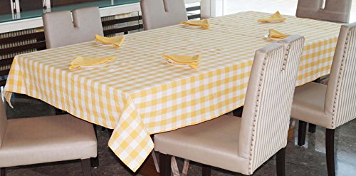 Lushomes Yarn Dyed Yellow Checks 6 Seater Table Cloth & Napkins Set