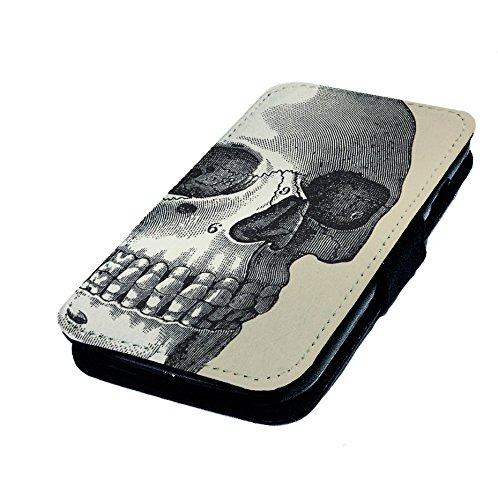 Samsung Galaxy S5Mini, Totenkopf Ätzen 1. Kunstleder Flip-Telefon Fall Cover. Goth Vintage Tattoo (Galaxy S5-tattoo-fall)