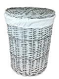 the pescara collection Canasto de lavandería Gray Wicker grande (70 litros). Cajas redondas de lavandería. Forro de algodón extraíble. Disponible en 2 tamaños