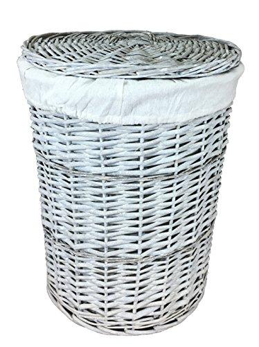 Portabiancheria grande in vimini grigio (70 litri). scatole di lavanderia rotonde. fodera in cotone removibile. disponibile in 2 dimensioni