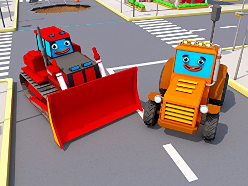 Rot Bulldozer und Traktor
