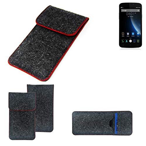 K-S-Trade® Filz Schutz Hülle Für -Doogee X6S- Schutzhülle Filztasche Pouch Tasche Case Sleeve Handyhülle Filzhülle Dunkelgrau Roter Rand