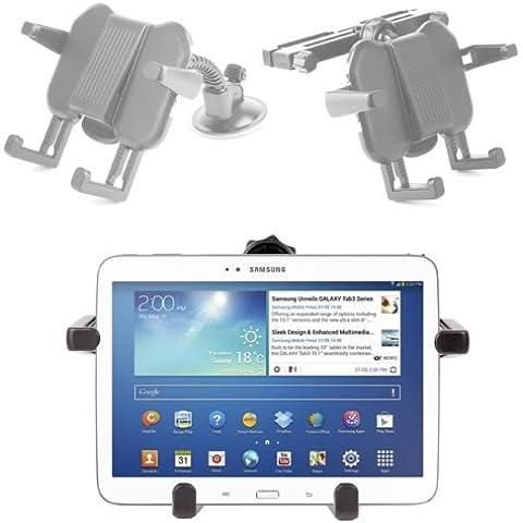 DURAGADGET Soporte Reposacabezas Coche + Soporte Ventosa Parabrisas Para Samsung Galaxy Tab 3 8