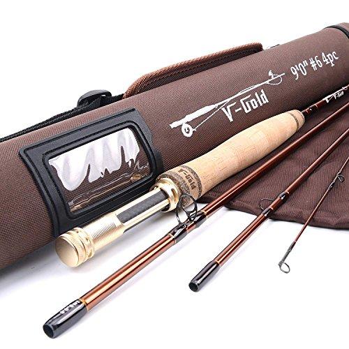 MAXIMUNCATCH V-Gold Fliegenrute IM12 Graphit 4 Teile Fliegenfischen Rute mit Cordura Rohr Angelrute in 4/5/6/8wt (9ft 5wt Rute) -