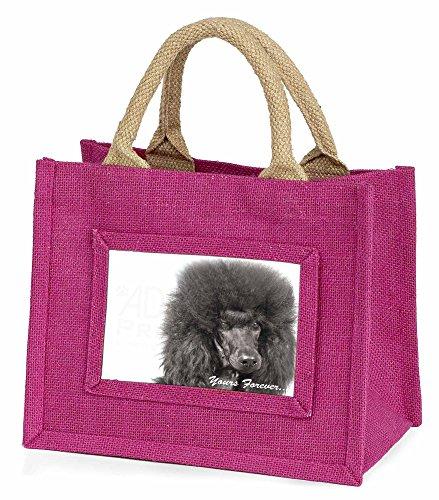 Schwarzer Pudel ' Yours Forever' Kleine Mädchen rosa Einkaufstasche (Schwarz Mini Pudel)