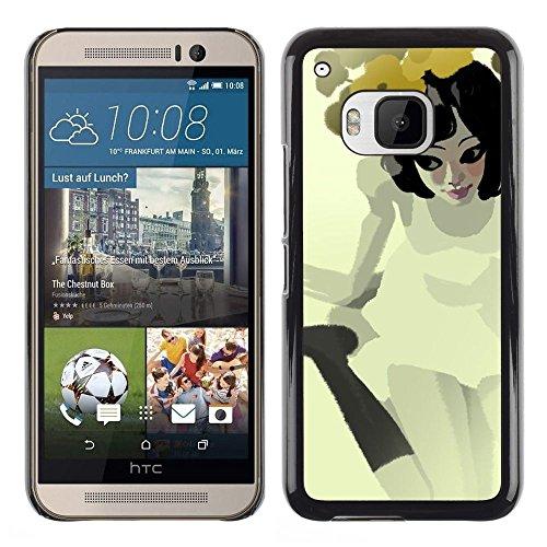 Be Good Phone Accessory // Hartschalen Handyhülle Schutzhülle Schutz Etui Hülle für HTC One M9 // Pretty Girl Flowers Yellow Dress White Sweet Haute Baby-sweet